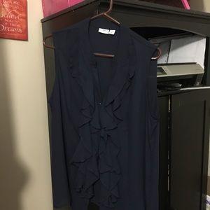 Cato navy blue blouse nwot